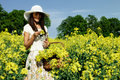Woman in the rape field young Royalty Free Stock Photography