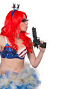 Woman rave girl dressed to go to a dance party with guns Royalty Free Stock Photos