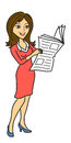 Woman read newspaper the with the vector illustration Royalty Free Stock Photos
