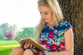 Woman reading book on meadow in park Royalty Free Stock Photo