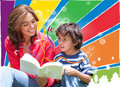 Woman reading to her son Royalty Free Stock Photo