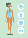 Woman ready to swim vector flat illustration Royalty Free Stock Photos