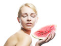 Woman ready to take a bite out of water against white background watermelon Stock Images