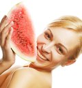 Woman ready to take a bite out of water against white background watermelon Royalty Free Stock Photography