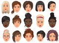Woman realistic detailed avatar set vector illustration. Beautiful young girls female portrait with different hair style Royalty Free Stock Photo