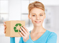 Woman with recyclable box picture of happy Royalty Free Stock Photo