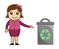 Woman with recycle bin conceptual drawing art of cartoon young lady presenting a trash vector illustration Royalty Free Stock Photos