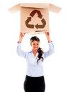 Woman with a recycling box Royalty Free Stock Photo