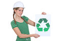 Woman with recycling symbol Stock Images