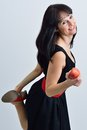 Woman with a red apple in the hand young Royalty Free Stock Photo