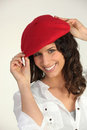 Woman with a red beret Royalty Free Stock Photo