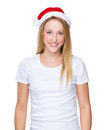 Woman with red christmas hat Royalty Free Stock Photo
