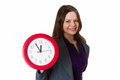 Woman with red clock Royalty Free Stock Image