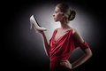 Woman in red dress. Girl and shoe Royalty Free Stock Photo