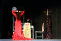 The woman in red dress perform in house flamenco flamenqueria moscow dec on december moscow russia opening of of Stock Photos