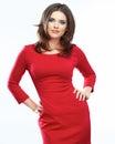 Woman Red Dress Portrait Isola...