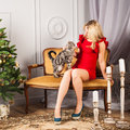 Woman in red dress sitting with cat on sofa Royalty Free Stock Photo