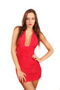 Woman in red dress with sultry expression fashion portrait Stock Photo