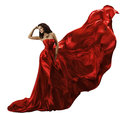 Woman Red Dress on White, Waving Flying Silk Fabric, Beauty Mode Royalty Free Stock Photo