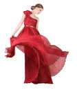 Woman in red evening dress beautiful wearing silk gown Royalty Free Stock Photo