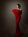 Woman Red Fashion Dress Art, Elegant Model Posing, Long Gown