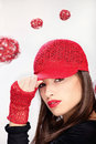 Woman with red hat pretty and gloves Royalty Free Stock Photography