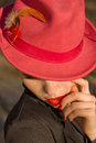 Woman in red hat. Red lips and manicure. Royalty Free Stock Photo