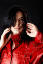 Woman in red leather jacket. Stock Photos
