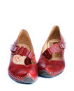 Woman red leather shoes Royalty Free Stock Image