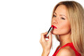 Woman red lipstick Stock Photography