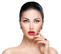 Woman with red lipstick and red nails Royalty Free Stock Photo