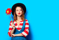 Woman with red pinwheel Royalty Free Stock Photo