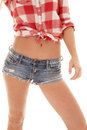 Woman red plaid shirt shorts body a s in her top and Stock Photos