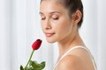 Woman with red rose beautiful calm young holding a over white background Royalty Free Stock Photos