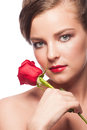 Woman with red rose portrait of elegant beautiful lipstick holding isolated on white background Royalty Free Stock Image