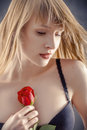 Woman with red rose sensual in lingerie Royalty Free Stock Photo