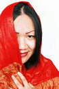 Woman in red silk shawl Royalty Free Stock Photo