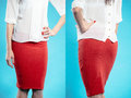 Woman in red skirt collage Royalty Free Stock Image