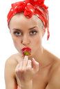 Woman with red strawberry Royalty Free Stock Photo