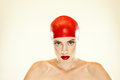 Woman in red swimming cap Stock Images