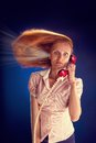 Woman with red telephone redhead brain explosion Stock Photos