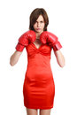 Woman red wearing boxing gloves isolated white background Stock Photography