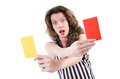 Woman referee with card on white Royalty Free Stock Photo