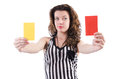Woman referee with card on white Royalty Free Stock Image