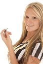 Woman referee head hold whistle Royalty Free Stock Photo