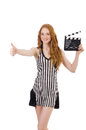 Woman referee with movie clapboard Royalty Free Stock Images