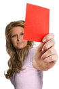 Woman referee showing red card portrait of an attractive young a studio shot of a female on a white background Royalty Free Stock Photo