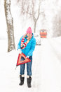 Woman with reflector triangle car snow breakdown Royalty Free Stock Image