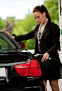 Woman refuel car Stock Photo