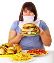 Woman refusing fast food overweight Royalty Free Stock Photos